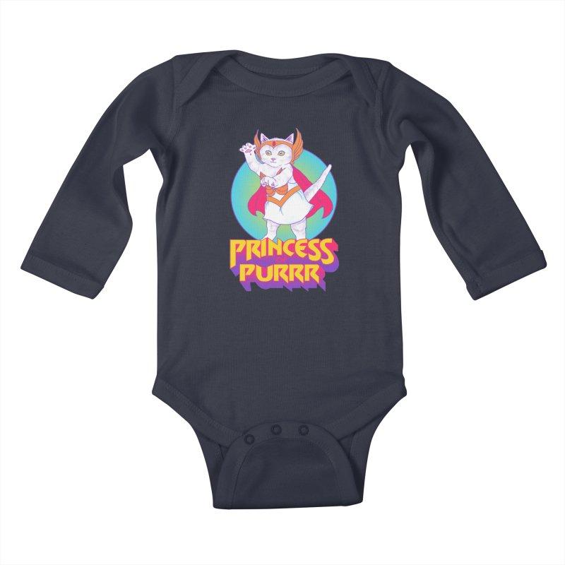 Princess Of Purrr Kids Baby Longsleeve Bodysuit by hillarywhiterabbit's Artist Shop