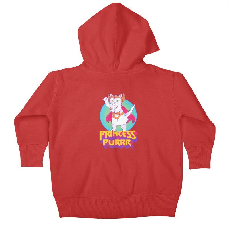 Princess Of Purrr Kids Baby Zip-Up Hoody by hillarywhiterabbit's Artist Shop