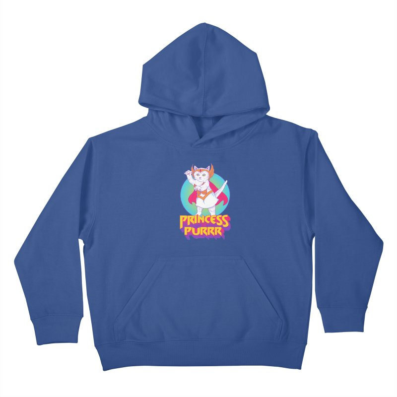 Princess Of Purrr Kids Pullover Hoody by hillarywhiterabbit's Artist Shop