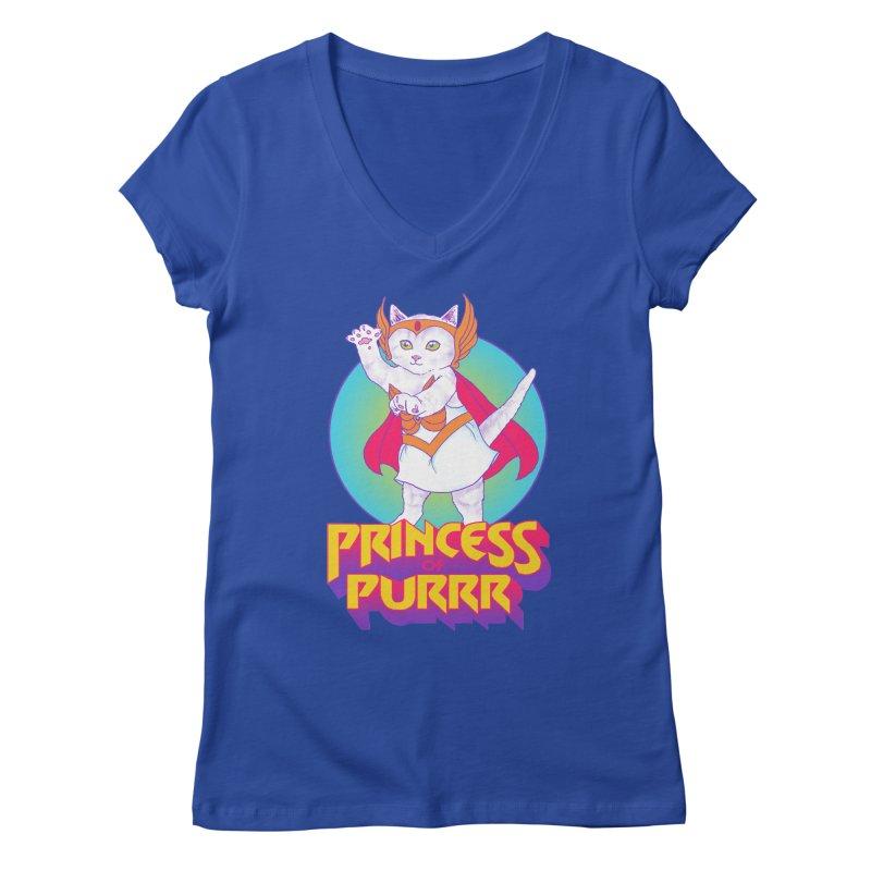 Princess Of Purrr Women's V-Neck by hillarywhiterabbit's Artist Shop