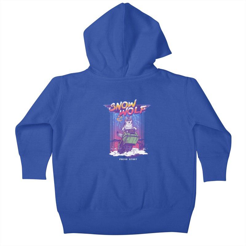 Snow Wolf Kids Baby Zip-Up Hoody by hillarywhiterabbit's Artist Shop