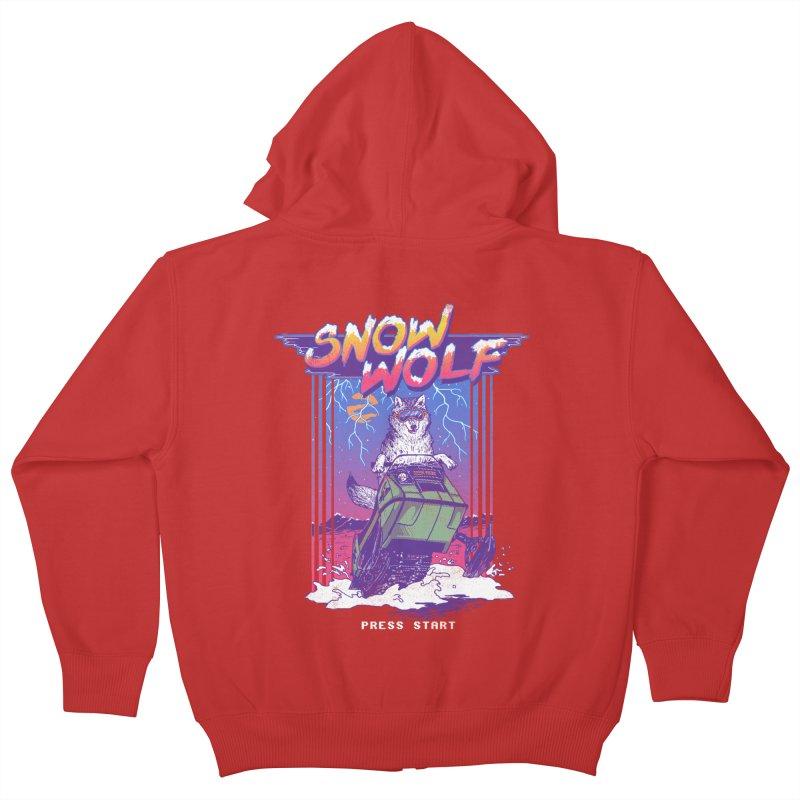 Snow Wolf Kids Zip-Up Hoody by hillarywhiterabbit's Artist Shop