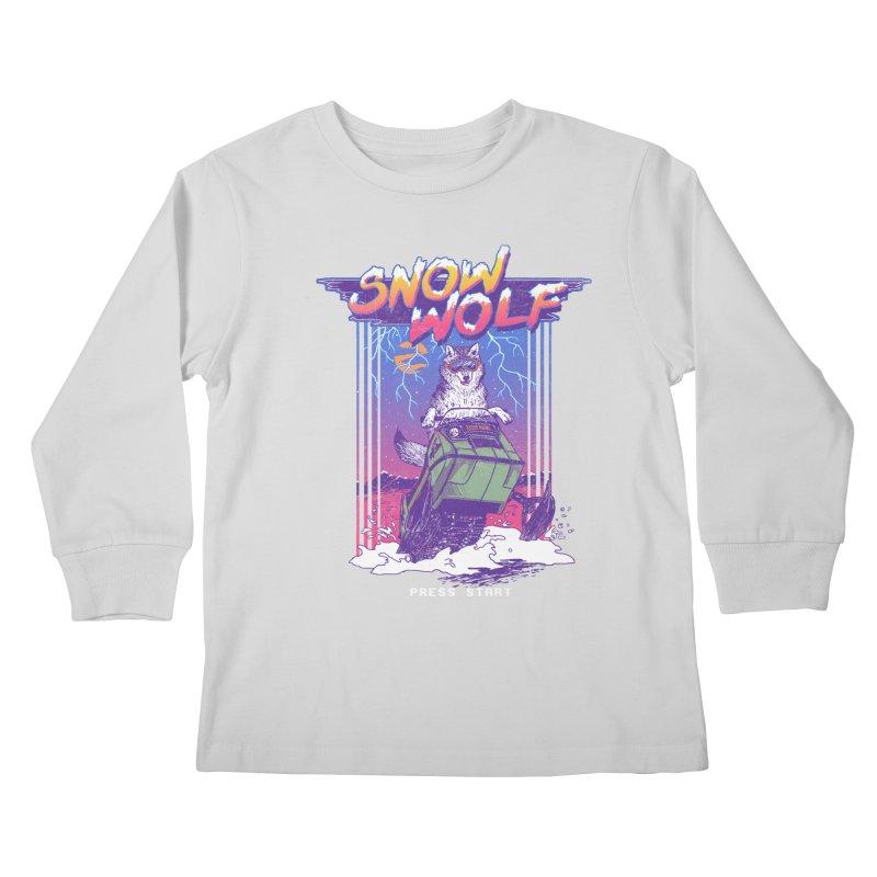 Snow Wolf Kids Longsleeve T-Shirt by hillarywhiterabbit's Artist Shop