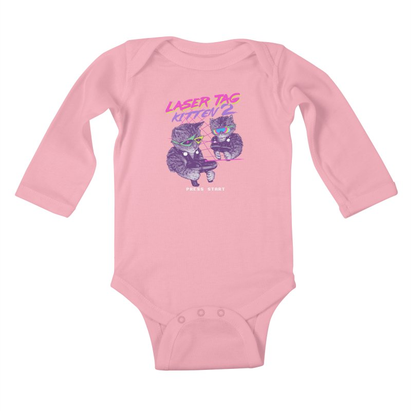 Laser Tag Kitten 2 Kids Baby Longsleeve Bodysuit by hillarywhiterabbit's Artist Shop