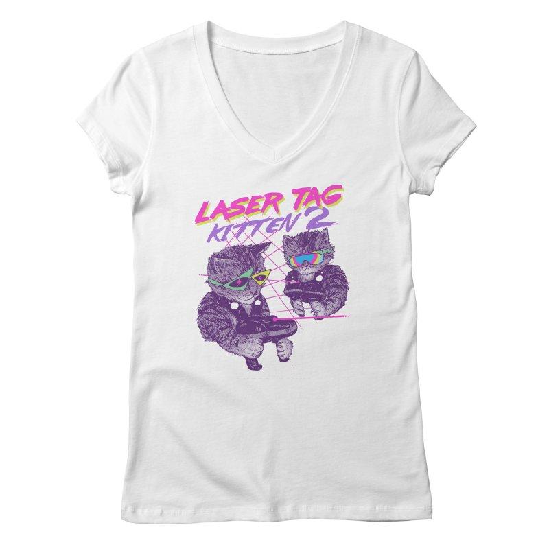 Laser Tag Kitten 2 Women's V-Neck by hillarywhiterabbit's Artist Shop