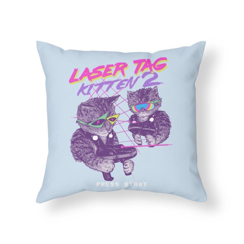 Laser Tag Kitten 2 Home Throw Pillow by hillarywhiterabbit's Artist Shop