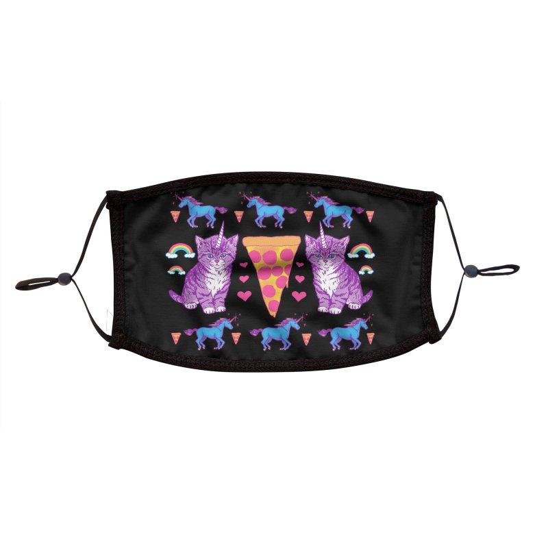 Kittycorn Pizza Rainbows Accessories Face Mask by Hillary White Rabbit