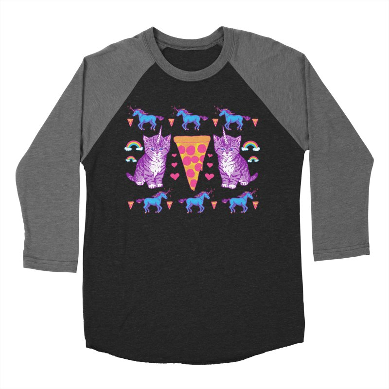 Kittycorn Pizza Rainbows Women's Baseball Triblend T-Shirt by hillarywhiterabbit's Artist Shop