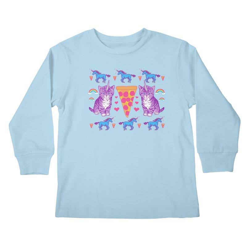 Kittycorn Pizza Rainbows Kids Longsleeve T-Shirt by hillarywhiterabbit's Artist Shop