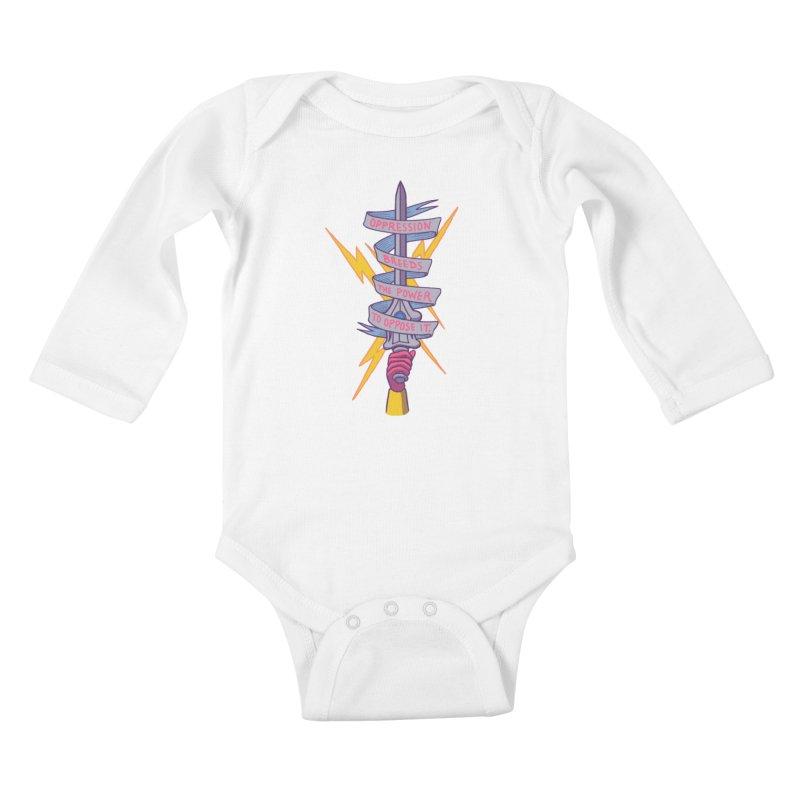 Oppose It Kids Baby Longsleeve Bodysuit by hillarywhiterabbit's Artist Shop