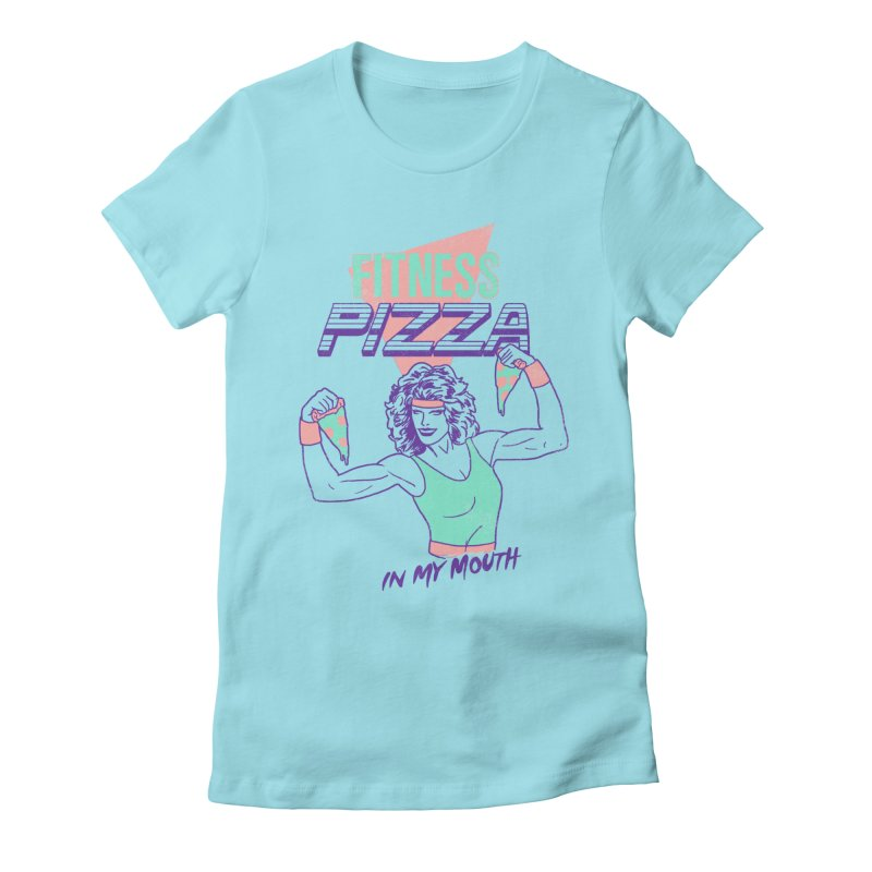 Fitness Pizza Women's Fitted T-Shirt by hillarywhiterabbit's Artist Shop