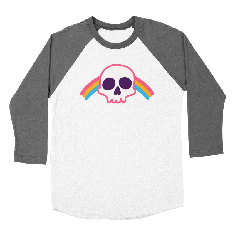 Rainbow Skull Women's Baseball Triblend T-Shirt by hillarywhiterabbit's Artist Shop
