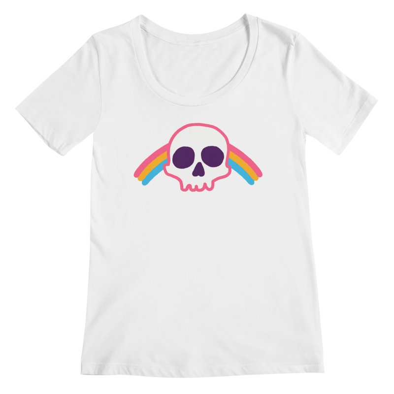 Rainbow Skull Women's Scoopneck by hillarywhiterabbit's Artist Shop