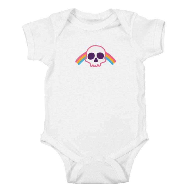 Rainbow Skull Kids Baby Bodysuit by hillarywhiterabbit's Artist Shop