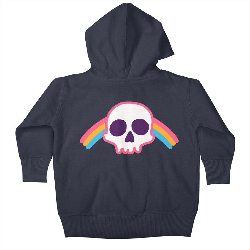 Rainbow Skull Kids Baby Zip-Up Hoody by hillarywhiterabbit's Artist Shop