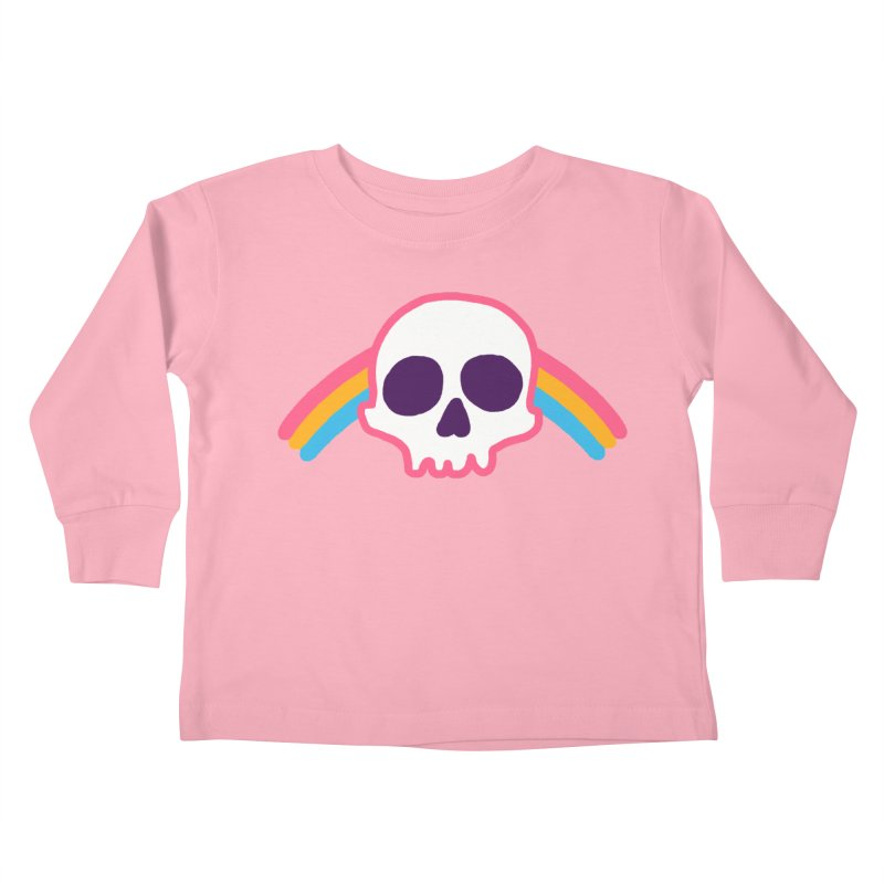 Rainbow Skull Kids Toddler Longsleeve T-Shirt by hillarywhiterabbit's Artist Shop