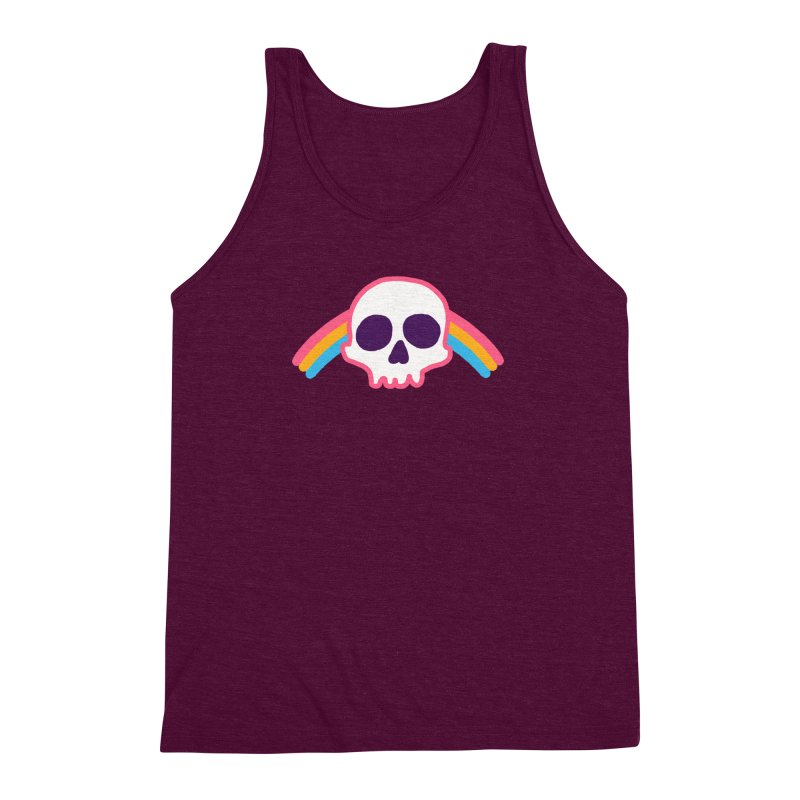 Rainbow Skull Men's Triblend Tank by hillarywhiterabbit's Artist Shop