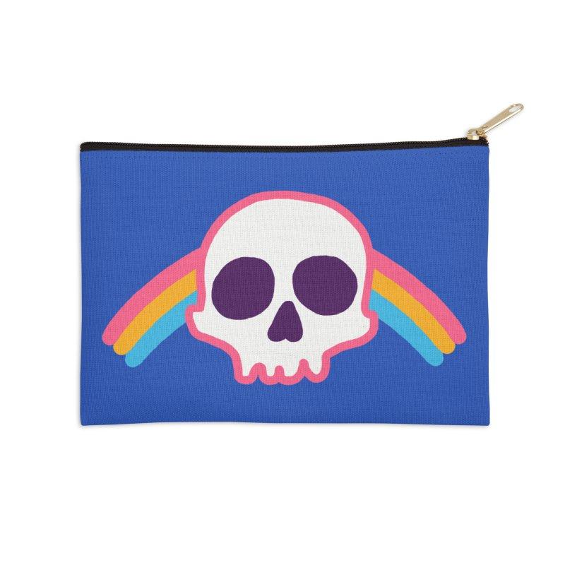 Rainbow Skull Accessories Zip Pouch by hillarywhiterabbit's Artist Shop