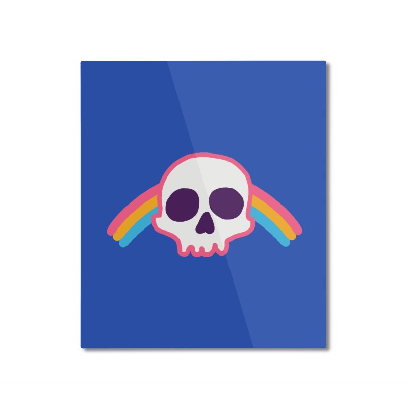 Rainbow Skull Home Mounted Aluminum Print by hillarywhiterabbit's Artist Shop