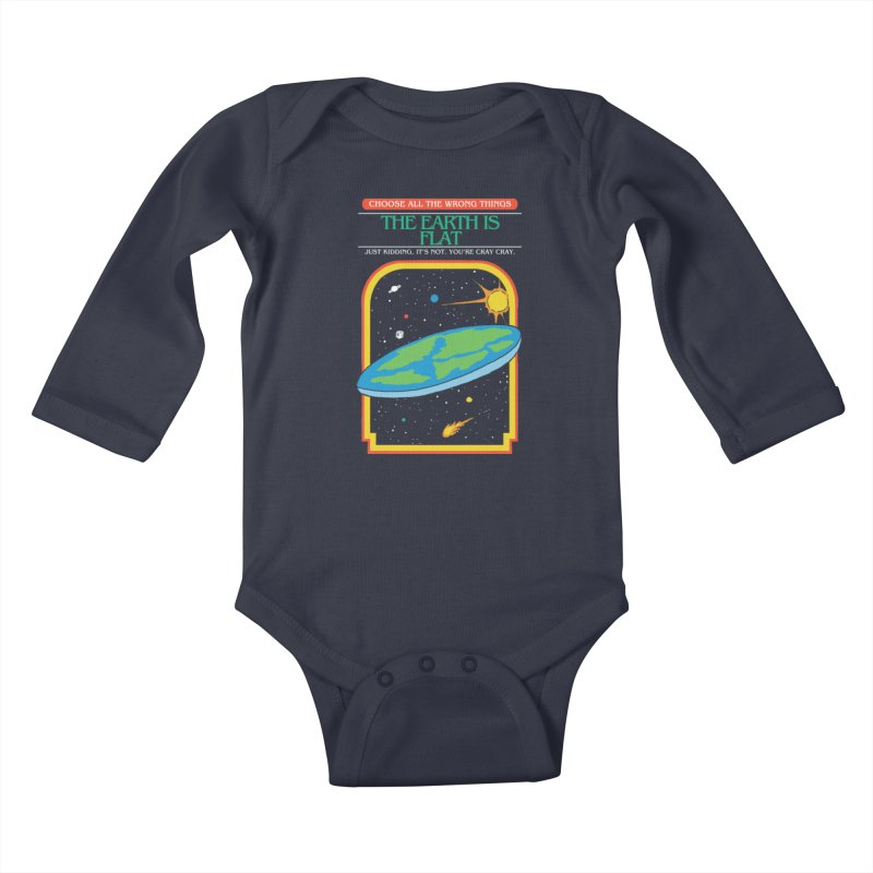 The Earth Is Flat Kids Baby Longsleeve Bodysuit by hillarywhiterabbit's Artist Shop