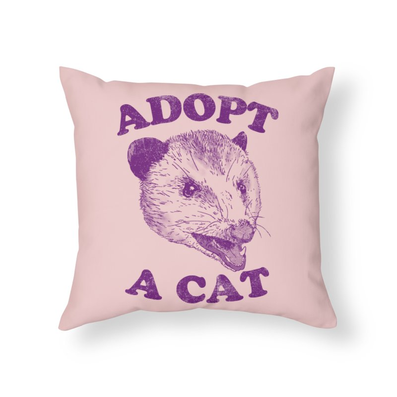 Adopt A Cat Home Throw Pillow by hillarywhiterabbit's Artist Shop