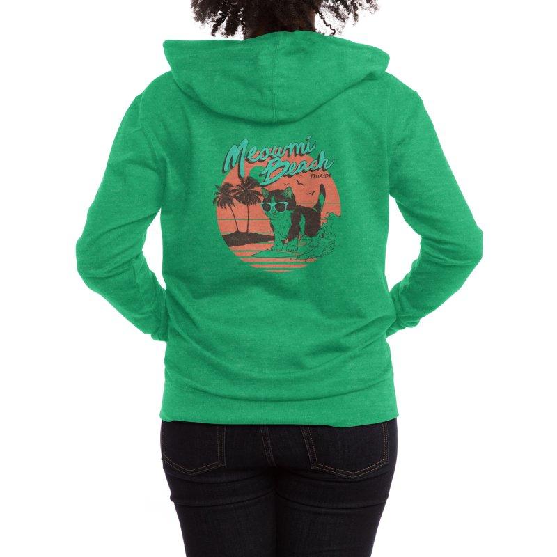 Meowmi Beach Women's Zip-Up Hoody by Hillary White Rabbit