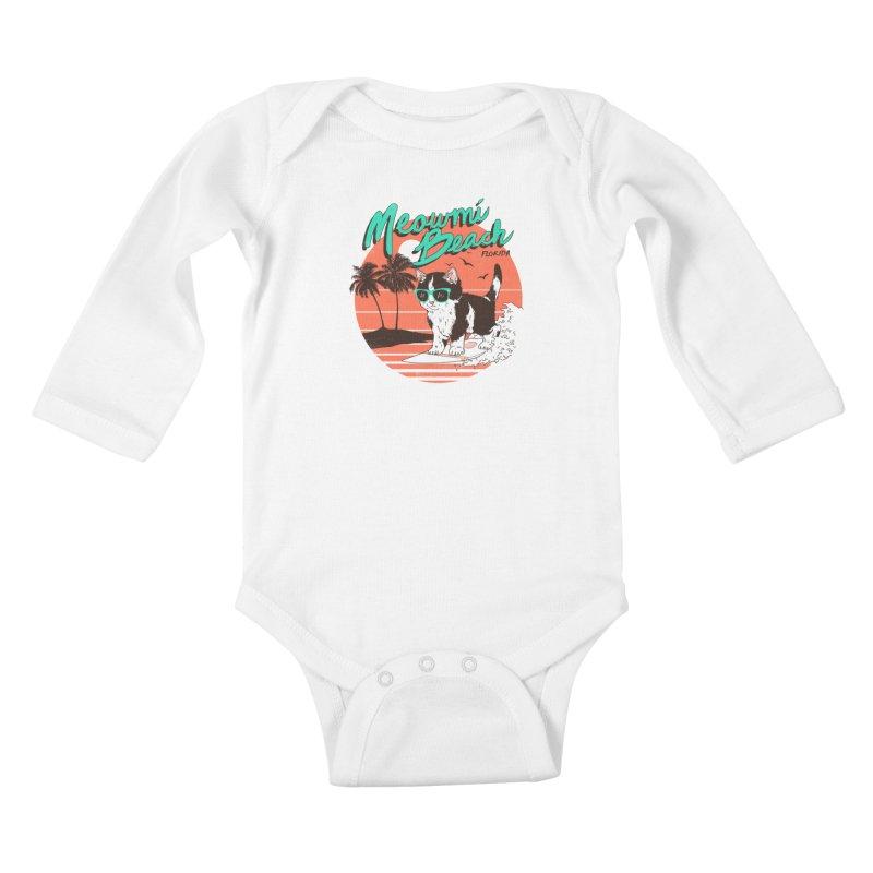Meowmi Beach Kids Baby Longsleeve Bodysuit by hillarywhiterabbit's Artist Shop