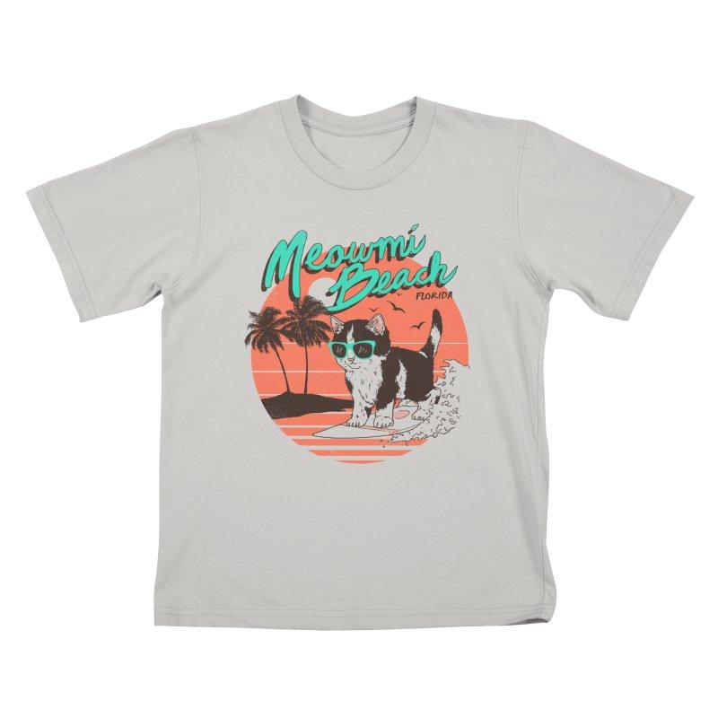 Meowmi Beach Kids T-Shirt by hillarywhiterabbit's Artist Shop