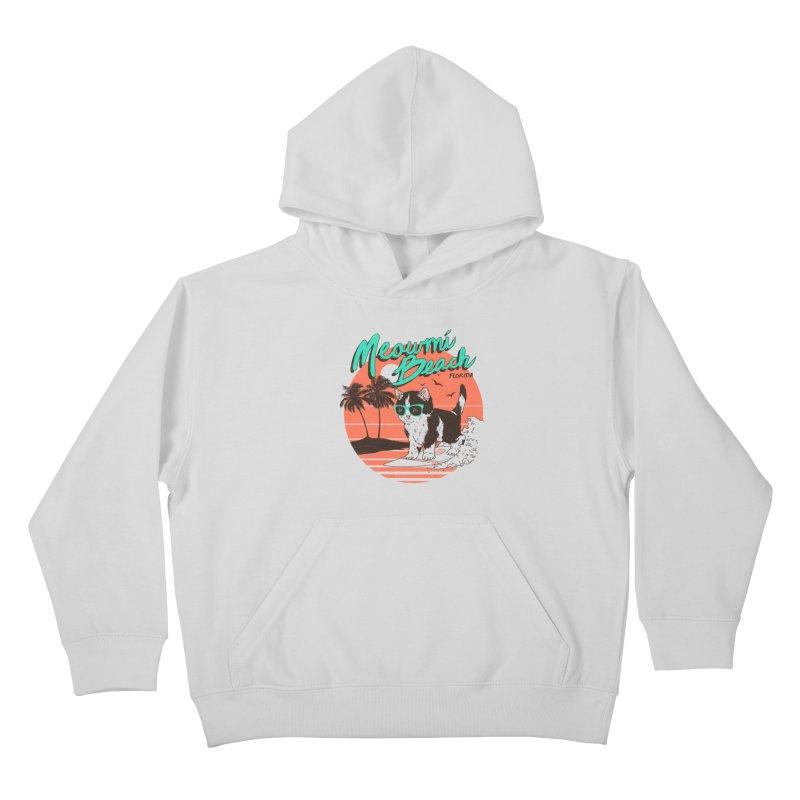 Meowmi Beach Kids Pullover Hoody by hillarywhiterabbit's Artist Shop