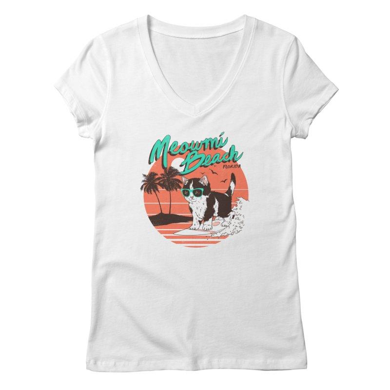 Meowmi Beach Women's V-Neck by hillarywhiterabbit's Artist Shop