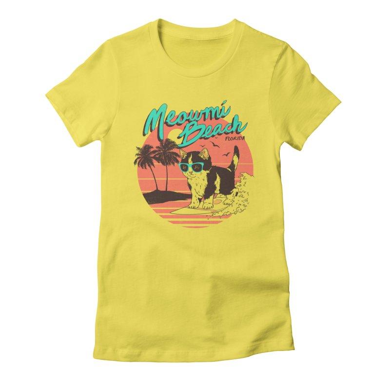 Meowmi Beach Women's Fitted T-Shirt by hillarywhiterabbit's Artist Shop