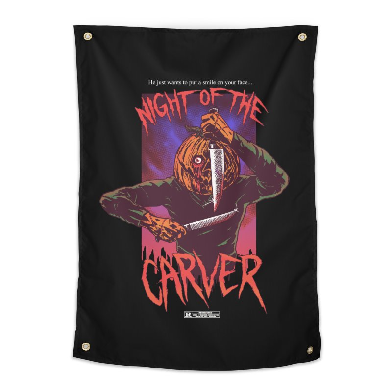 Night of the Carver Home Tapestry by hillarywhiterabbit's Artist Shop