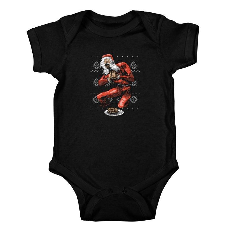Santa Devouring His Cookies Kids Baby Bodysuit by hillarywhiterabbit's Artist Shop