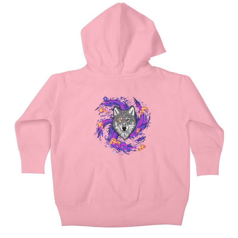 Galactic Pizza Wolf Kids Baby Zip-Up Hoody by hillarywhiterabbit's Artist Shop