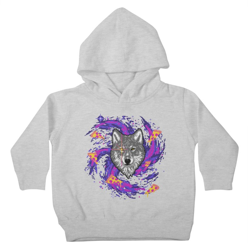 Galactic Pizza Wolf Kids Toddler Pullover Hoody by hillarywhiterabbit's Artist Shop