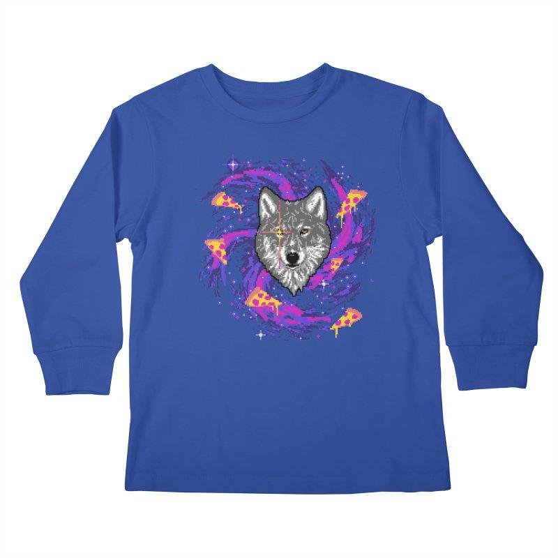 Galactic Pizza Wolf Kids Longsleeve T-Shirt by hillarywhiterabbit's Artist Shop