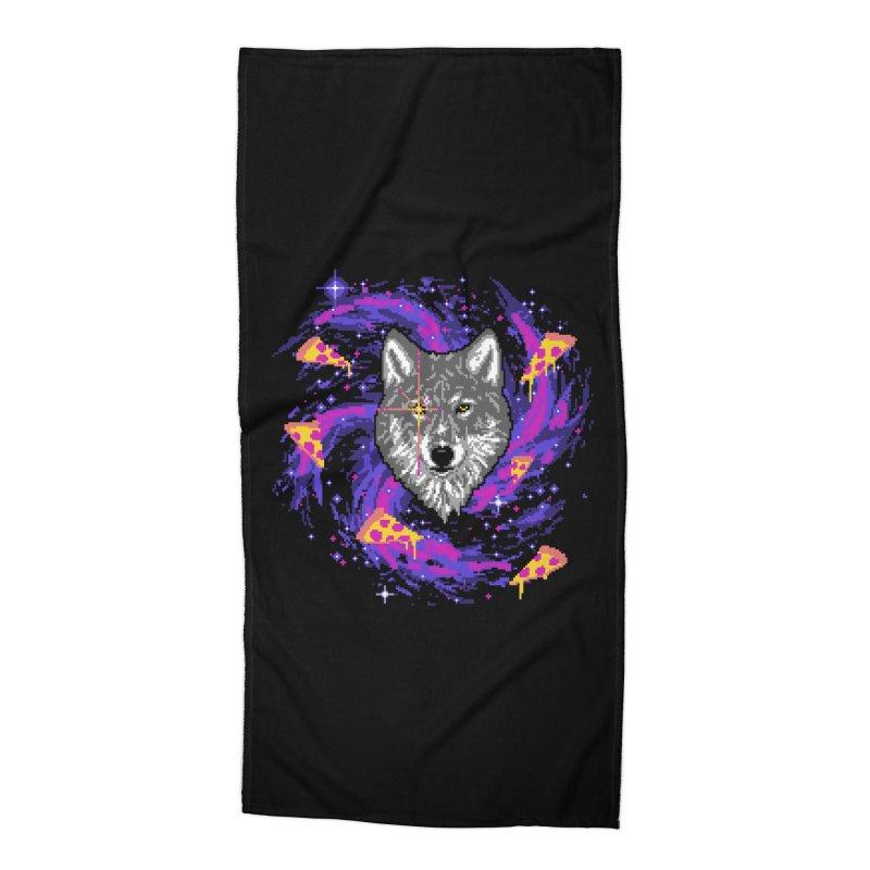 Galactic Pizza Wolf Accessories Beach Towel by hillarywhiterabbit's Artist Shop