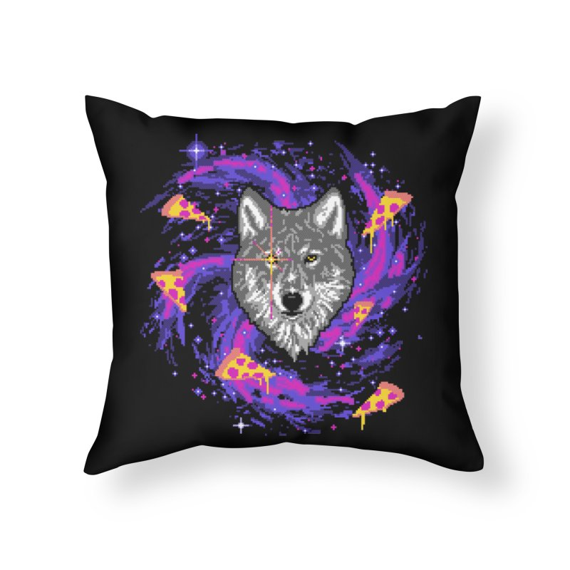 Galactic Pizza Wolf Home Throw Pillow by hillarywhiterabbit's Artist Shop