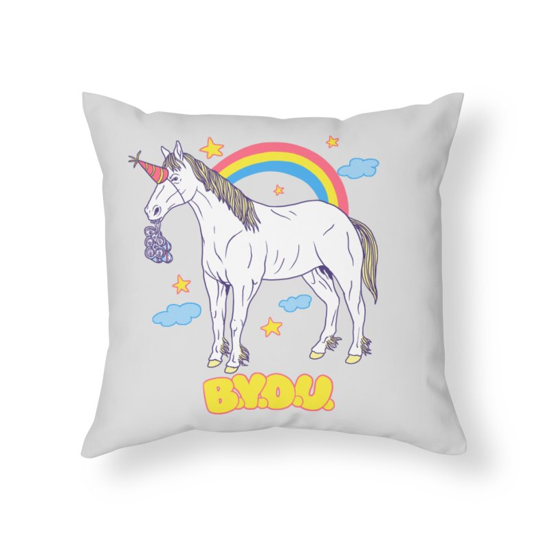 Bring Your Own Unicorn Home Throw Pillow by hillarywhiterabbit's Artist Shop