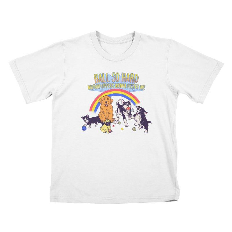 Puppies At Play Kids T-Shirt by Hillary White