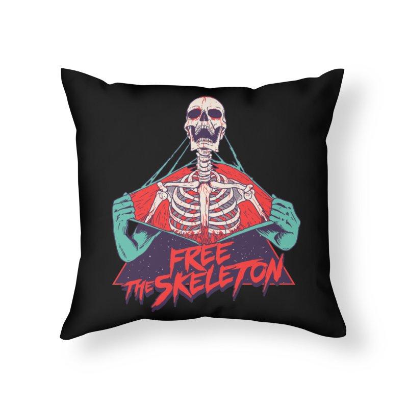 Free the Skeleton Home Throw Pillow by hillarywhiterabbit's Artist Shop