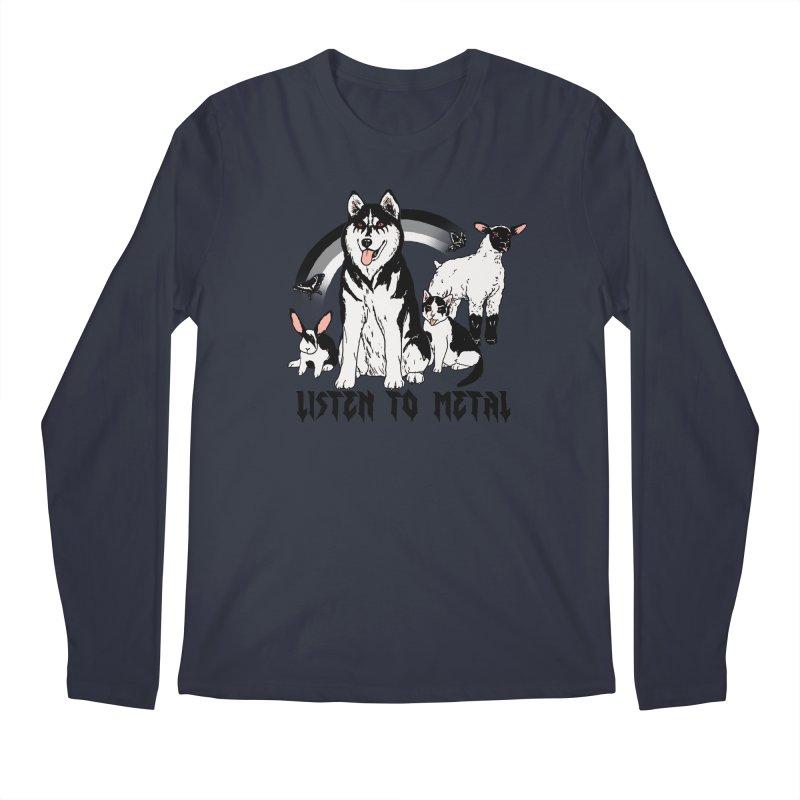Listen To Metal Men's Regular Longsleeve T-Shirt by hillarywhiterabbit's Artist Shop