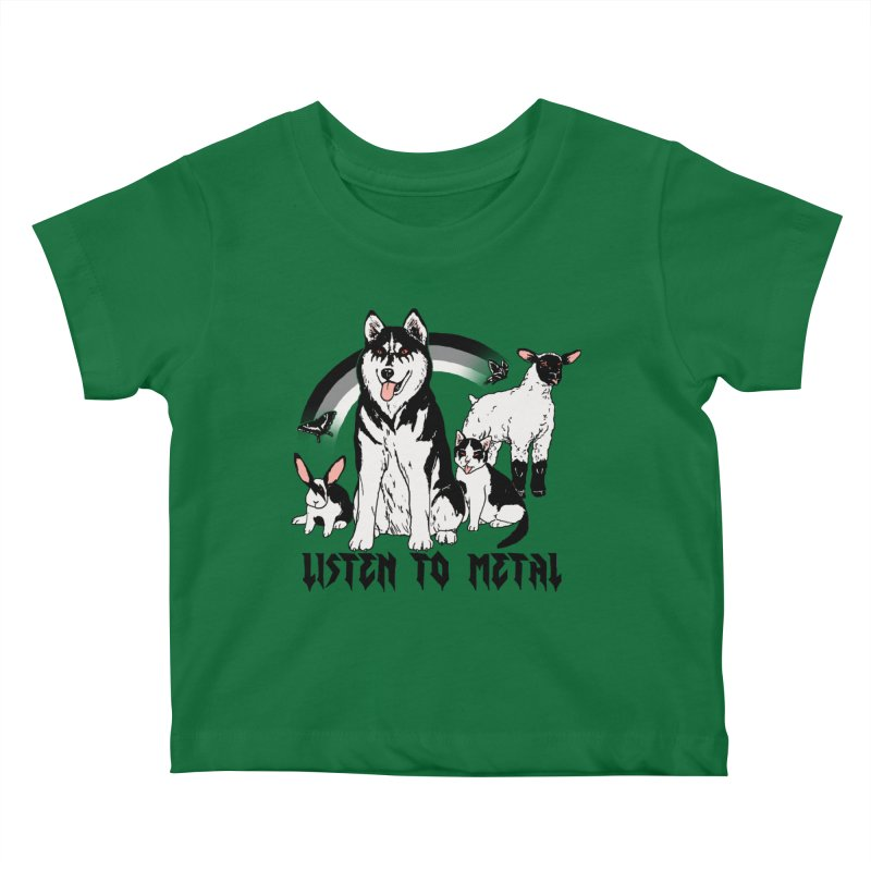 Listen To Metal Kids Baby T-Shirt by Hillary White