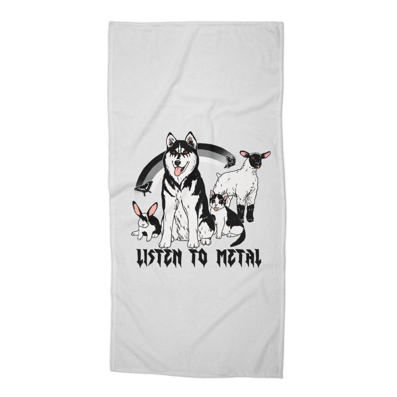 Listen To Metal Accessories Beach Towel by hillarywhiterabbit's Artist Shop