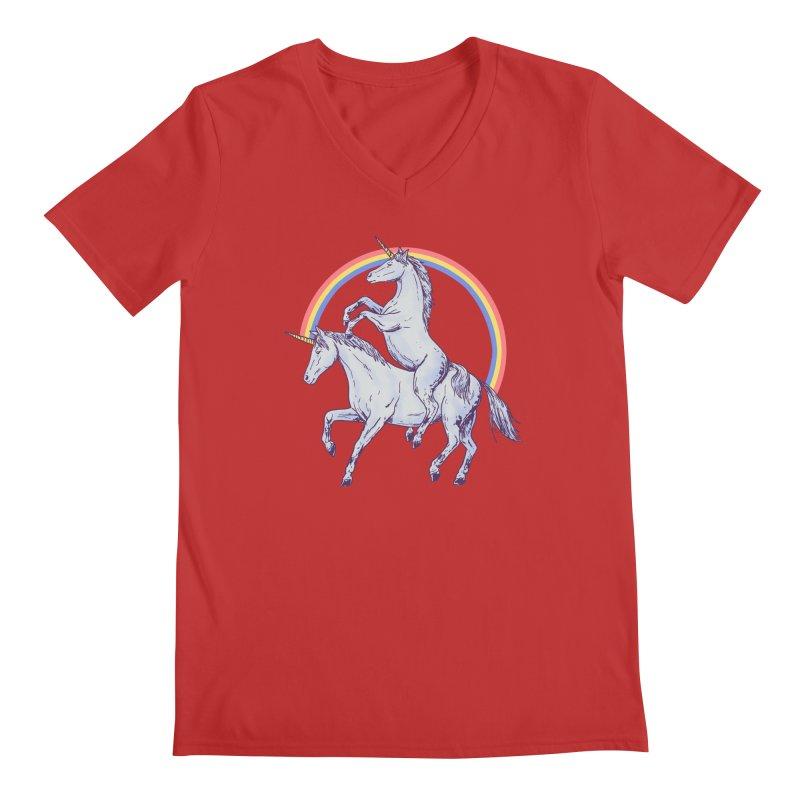 Unicorn Rider Men's Regular V-Neck by Hillary White