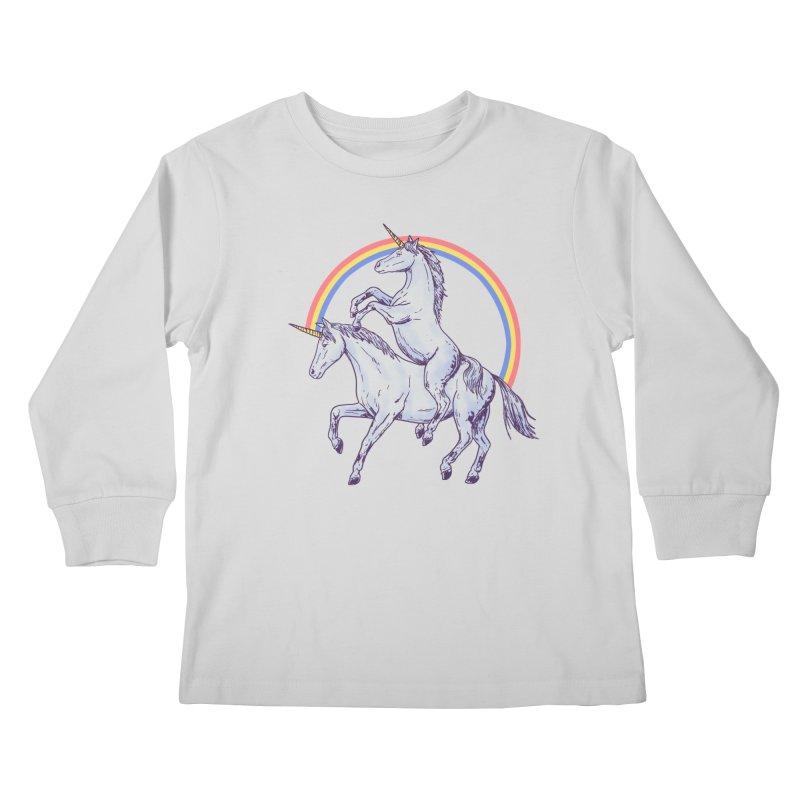 Unicorn Rider Kids Longsleeve T-Shirt by Hillary White