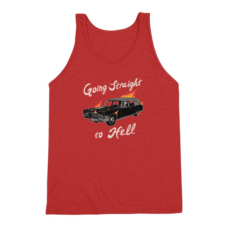 Going Straight To Hell Men's Triblend Tank by Hillary White