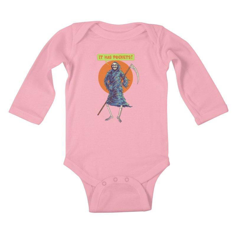 It Has Pockets Kids Baby Longsleeve Bodysuit by Hillary White