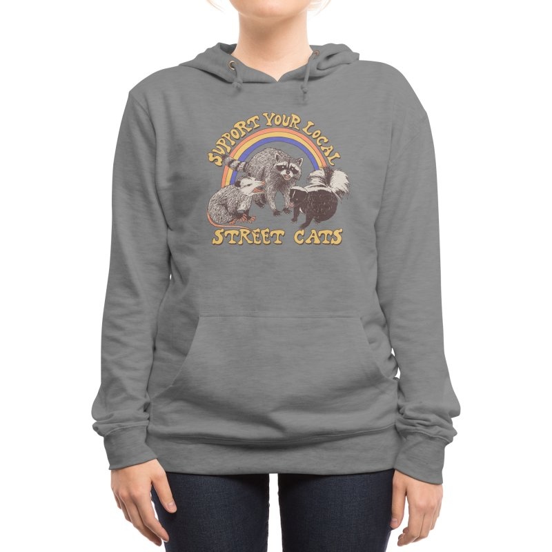 Street Cats Women's Pullover Hoody by Hillary White Rabbit