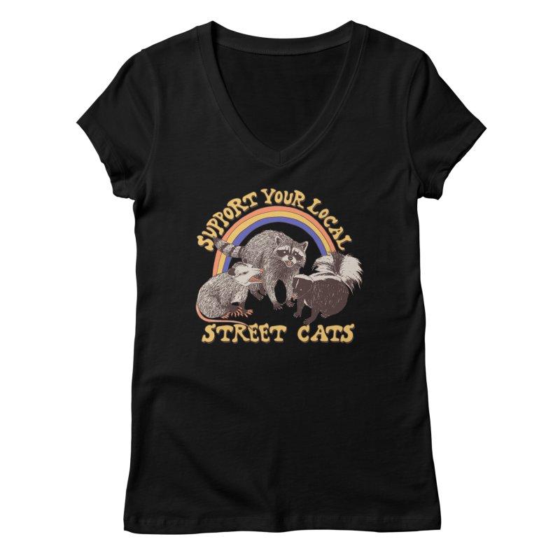 Street Cats Women's V-Neck by Hillary White Rabbit